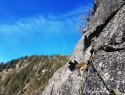 Ščuka v smeri Hubertus Alptraum, VI+, 320 m.
