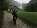 Deževno jutranje kolesarjenje.