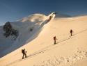 Pod bivakom Vallot in levo Mont Blanc s Severno flanko.