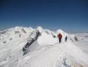 Pogled z vrha Breithorna (4164m) na celoten masiv Monte Rose.