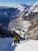 Dostopni žlebovi. V ozadju Zufallspitze - Monte Cevedale, 3769 m.