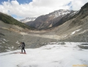 Na koncu ledenika Morteratsch.